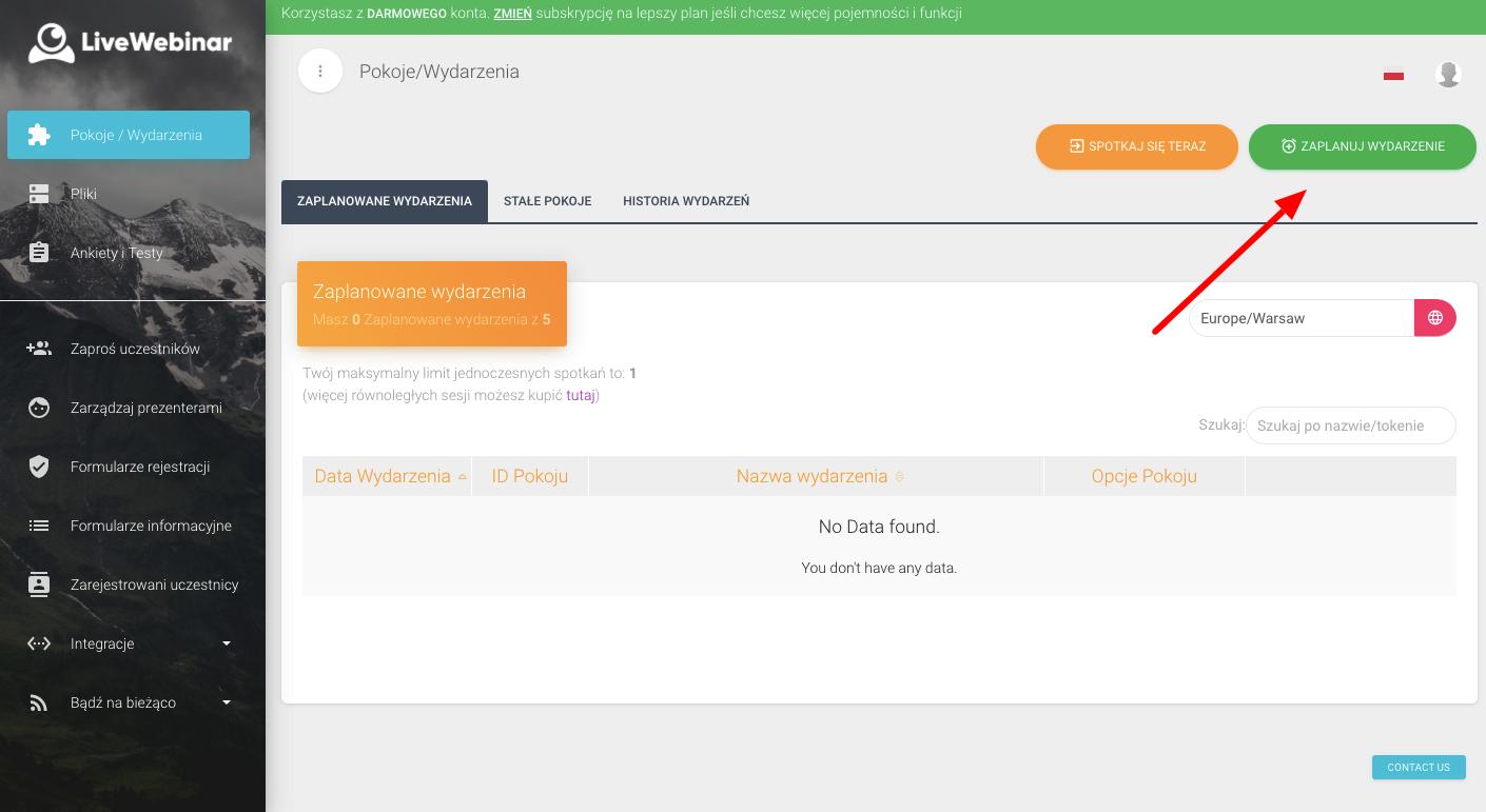 Omówienie panelu głównego narzędzia Livewebinar