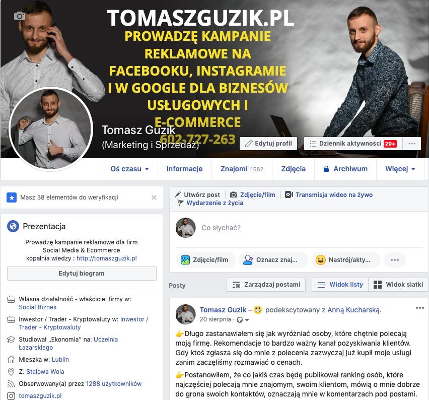profil prywatny na facebooku Tomasz Guzik