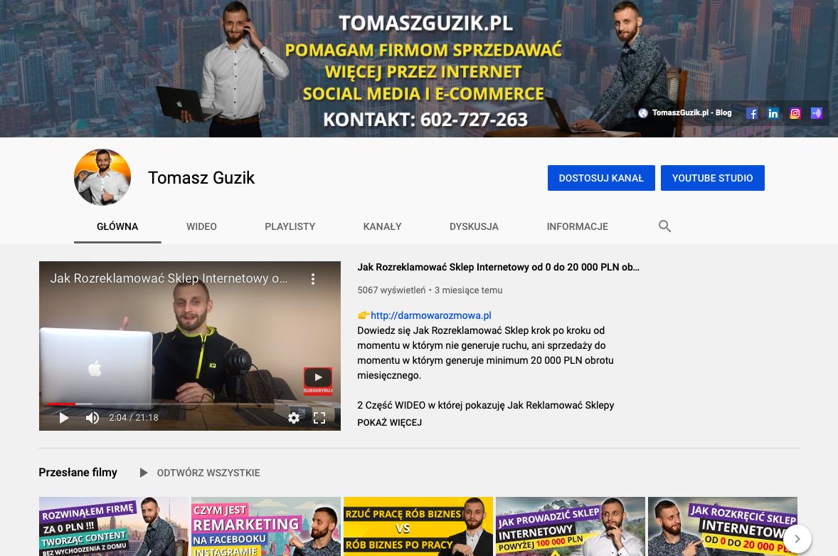 grafika Tomasz Guzik kanał na youtubie