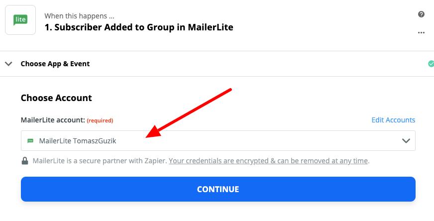 wybór konta mailerlite w aplikacji zapier.com