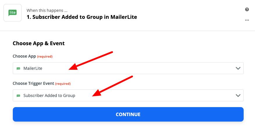 wybieramy aplikacje mailerlite i trigger odpalający akcje w zapier.com