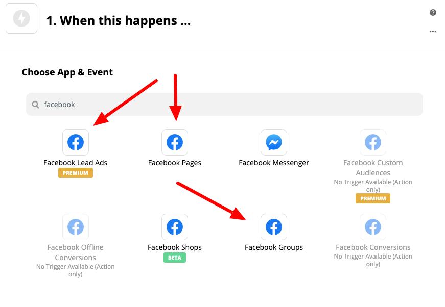 dostępne integracje dotyczące facebooka w panelu zapier.com