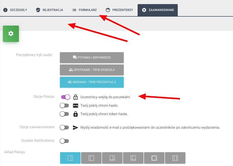 Zaawansowane ustawienia w konfiguracji pokoju w livewebinar