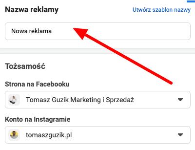 wybór nazwy reklamy oraz fanpage w facebook ads