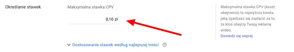 określanie stawki za kliknięcie reklamy youtube