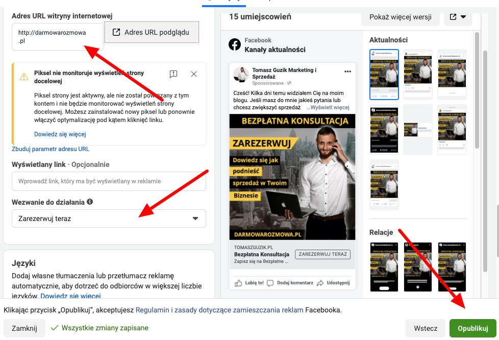 konfiguracja kreacji reklamowej w facebook ads