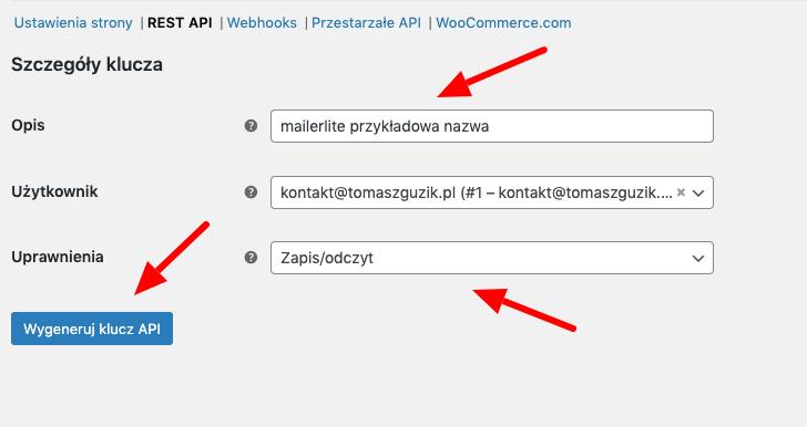 tworzenie klucza api potrzebnego do integracji z mailerlite