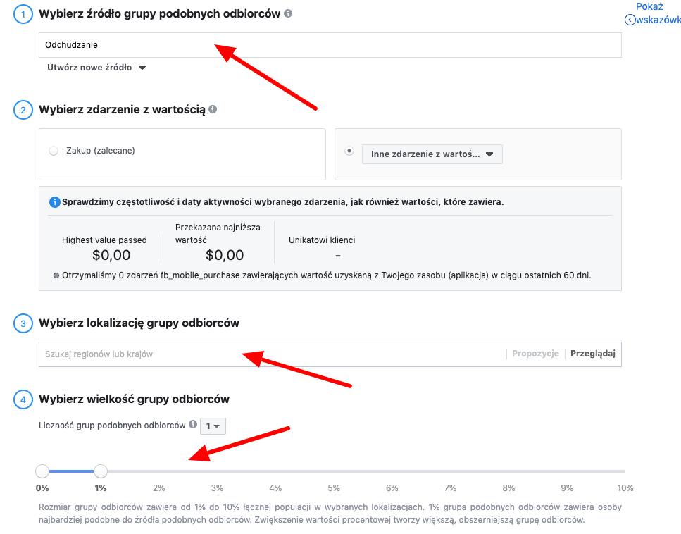 tworzenie grupy lookalike na koncie reklamowym facebooka