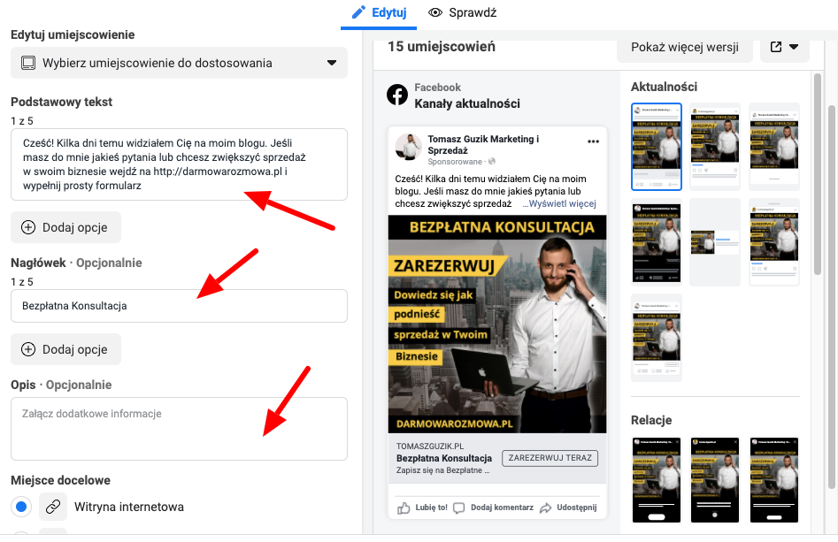 tworzenie tekstów do kreacji reklamowej facebook ads