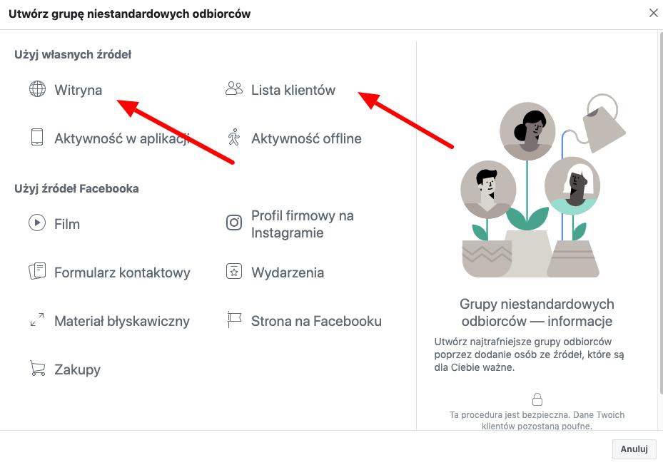 wybór źródeł do grupy custom audience