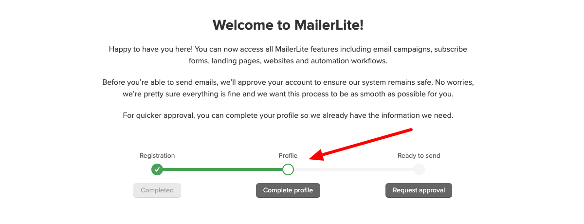 proces rejestracji w mailerlite etap 1