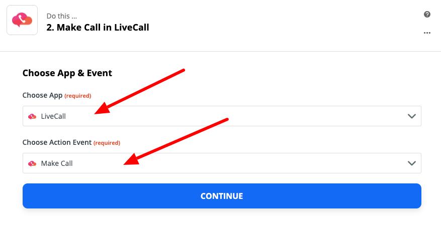 wybór aplikacji livecall.io w panelu zapier.com