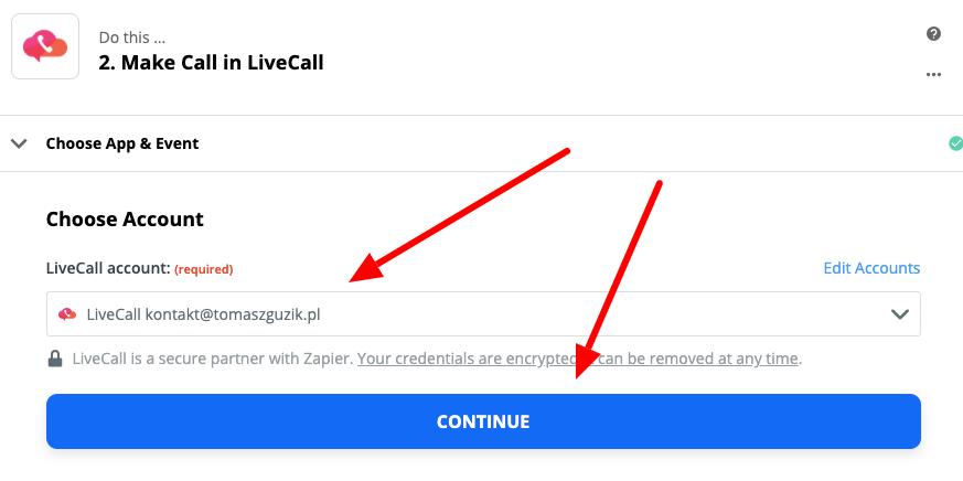 Wybór konta livecall w aplikacji zapier.com