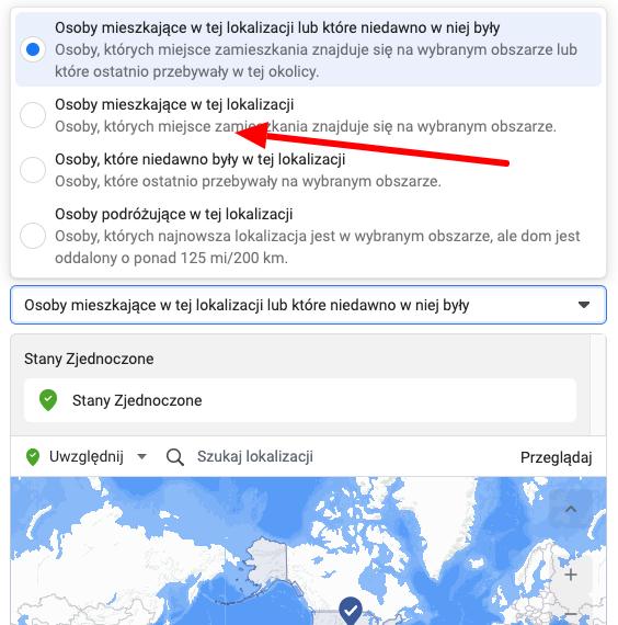 wybór lokalizacji wyswietlania reklam w facebook ads