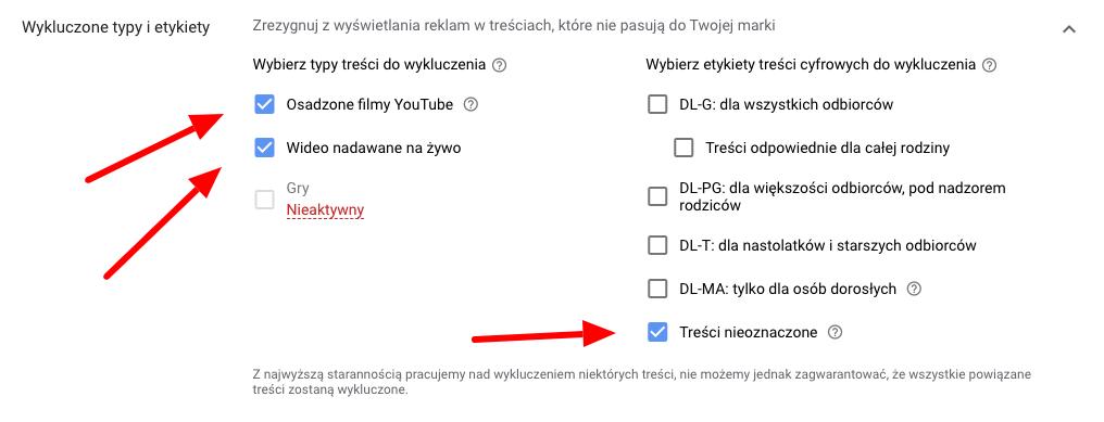 wykluczanie typów i etykiet z reklamy youtube