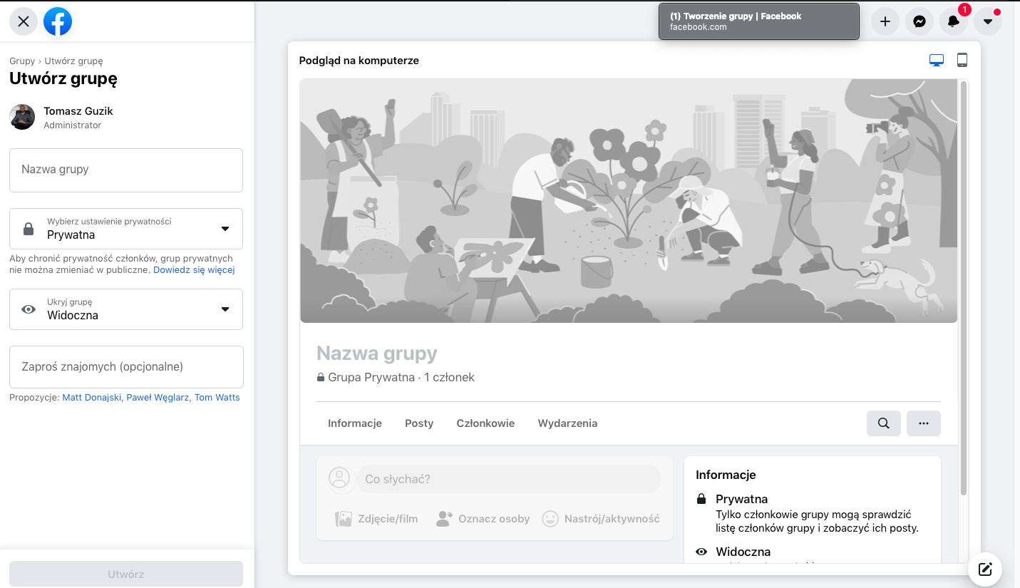 instrukcja jak stworzyć grupę na facebooku krok po kroku