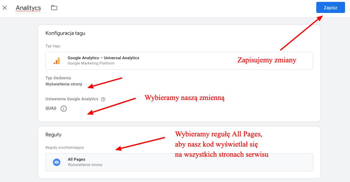 Tworzenie tagu Google Analytics w GTM