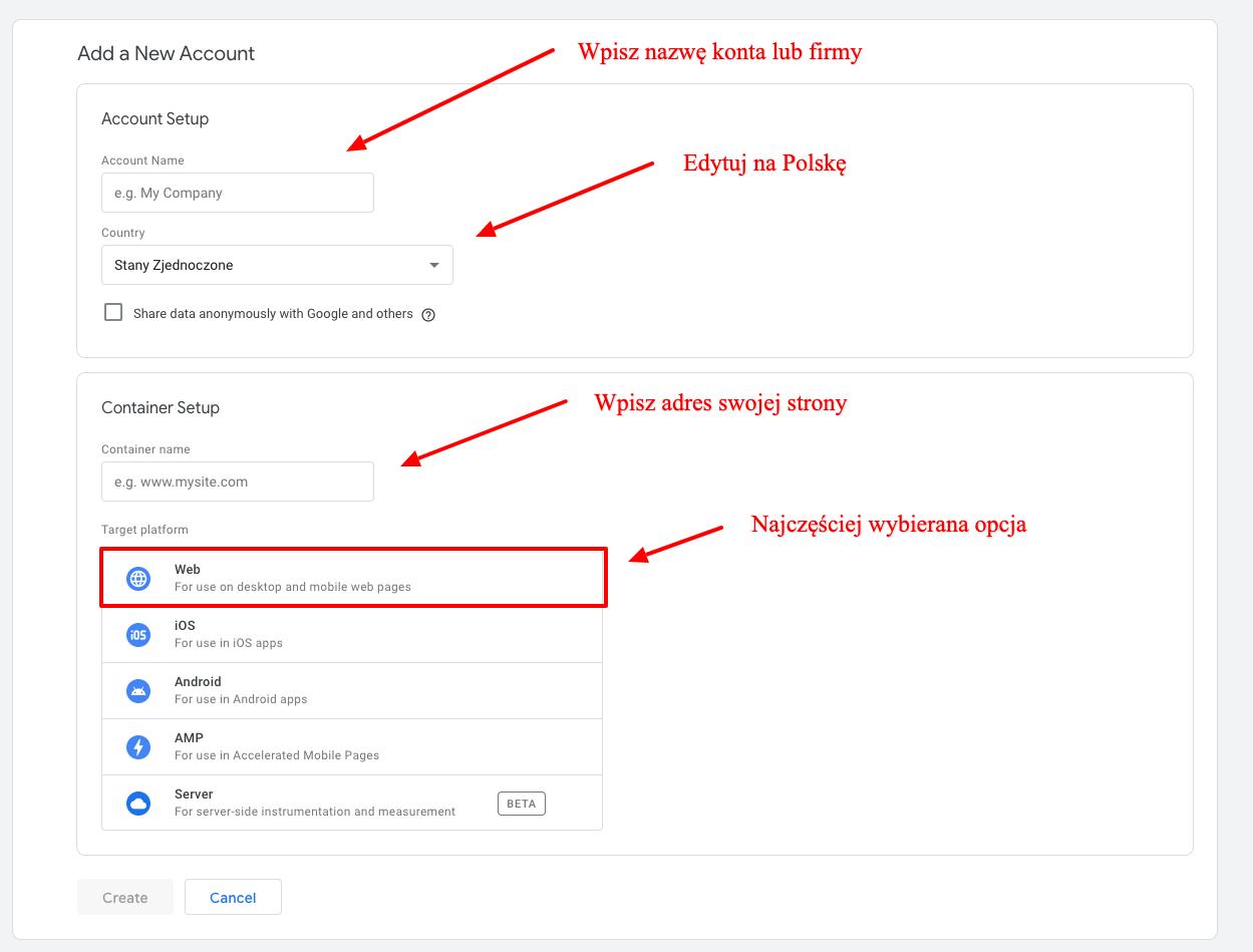zakladanie konta w Google Tag Manager