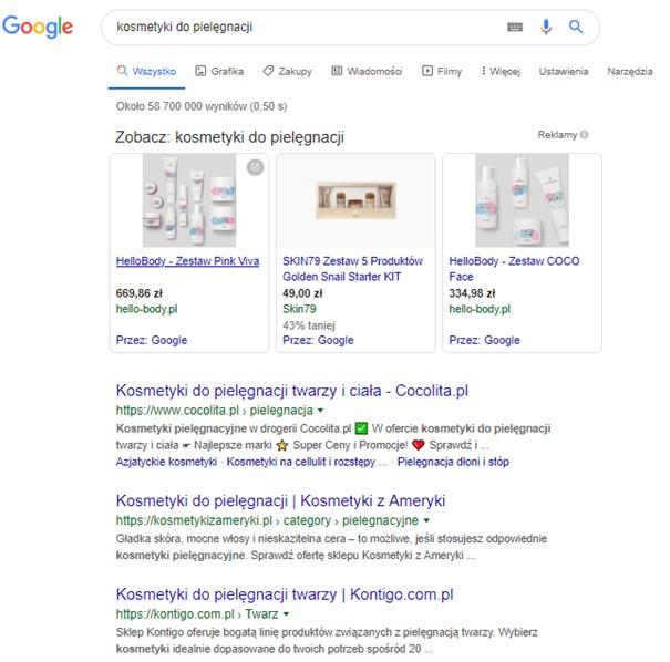 kosmetyki do pielęgnacji wyszukiwarka google