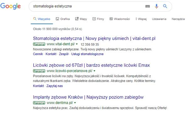 płatna reklama w wyszukiwarce google stomatologia estetyczna