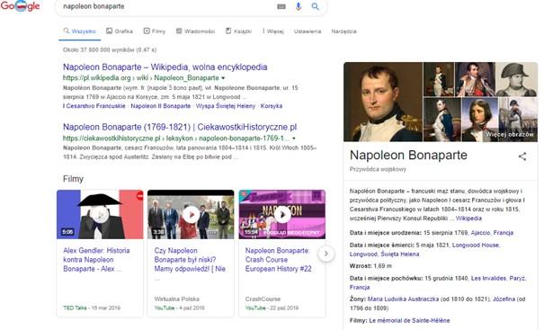 wynik wyszukiwania napoleon bonaparte w postaci grafu