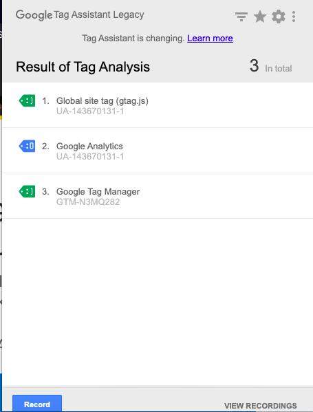 podgląd zainstalowanych kodów w Google Tag assistant