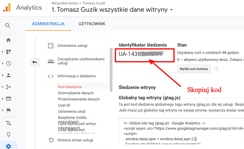 identyfikator śledzenia Google Analitycs