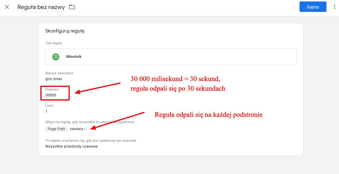 tworzenie reguły mierzącej czas w Google Tag manager