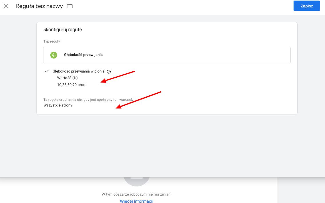 reguła przewijania strony Google Tag Manager