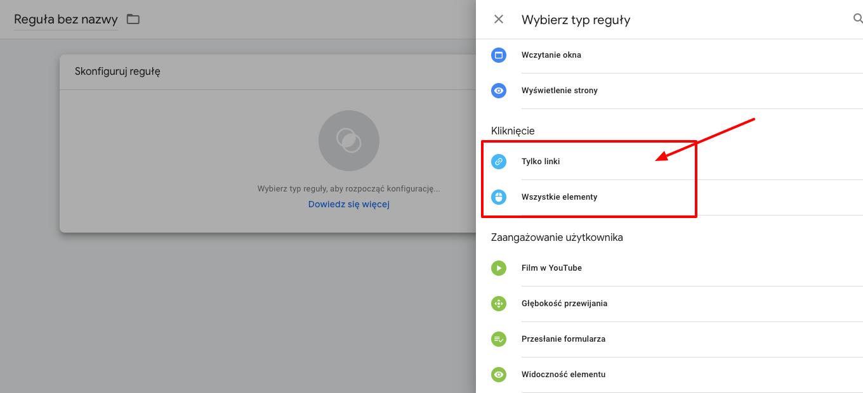 mierzenie klikniec w Google Tag Manager- Tworzymy regułę