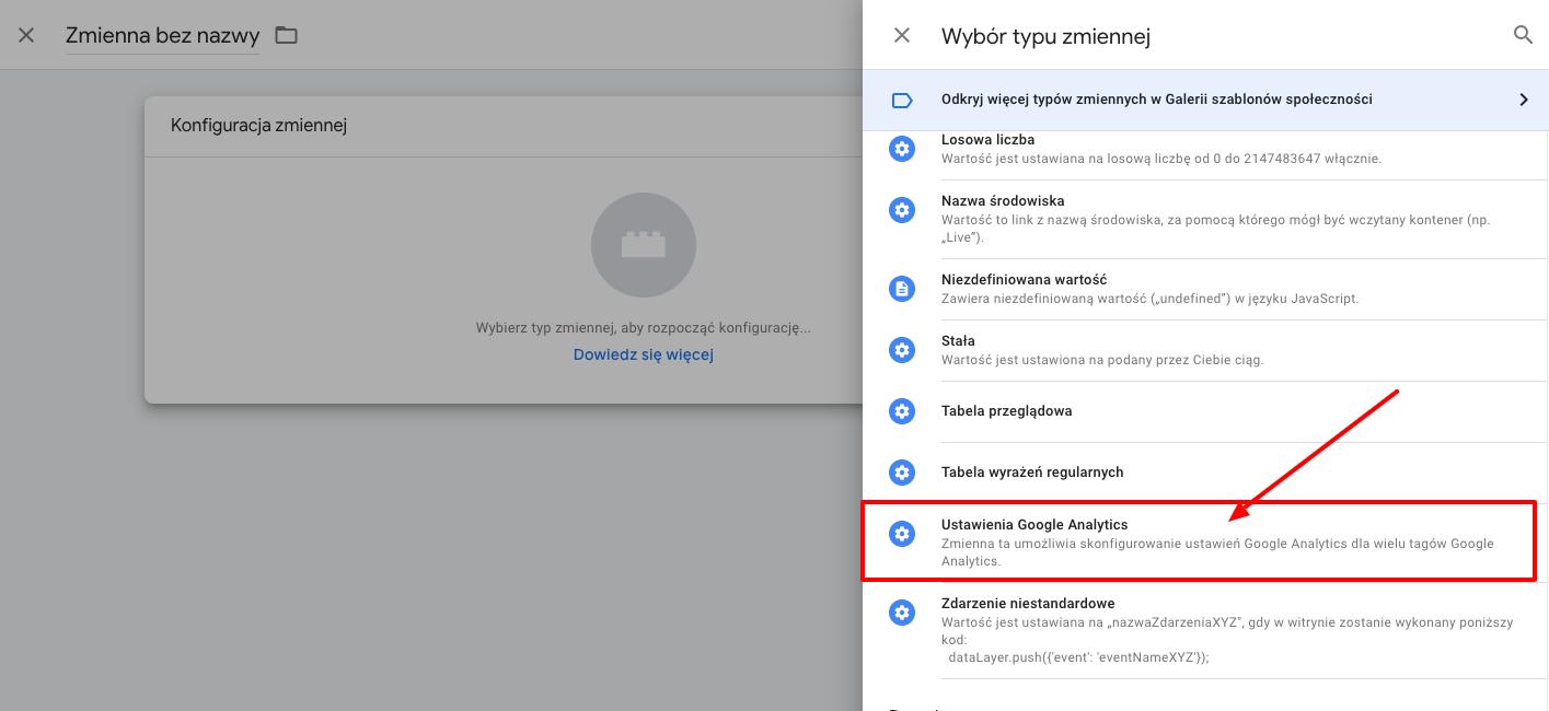tworzenie zmiennej Google Analitycs w GTM