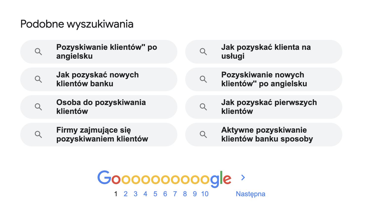 wynik podobnych wyszukiwan do poszukiwanej frazy w google