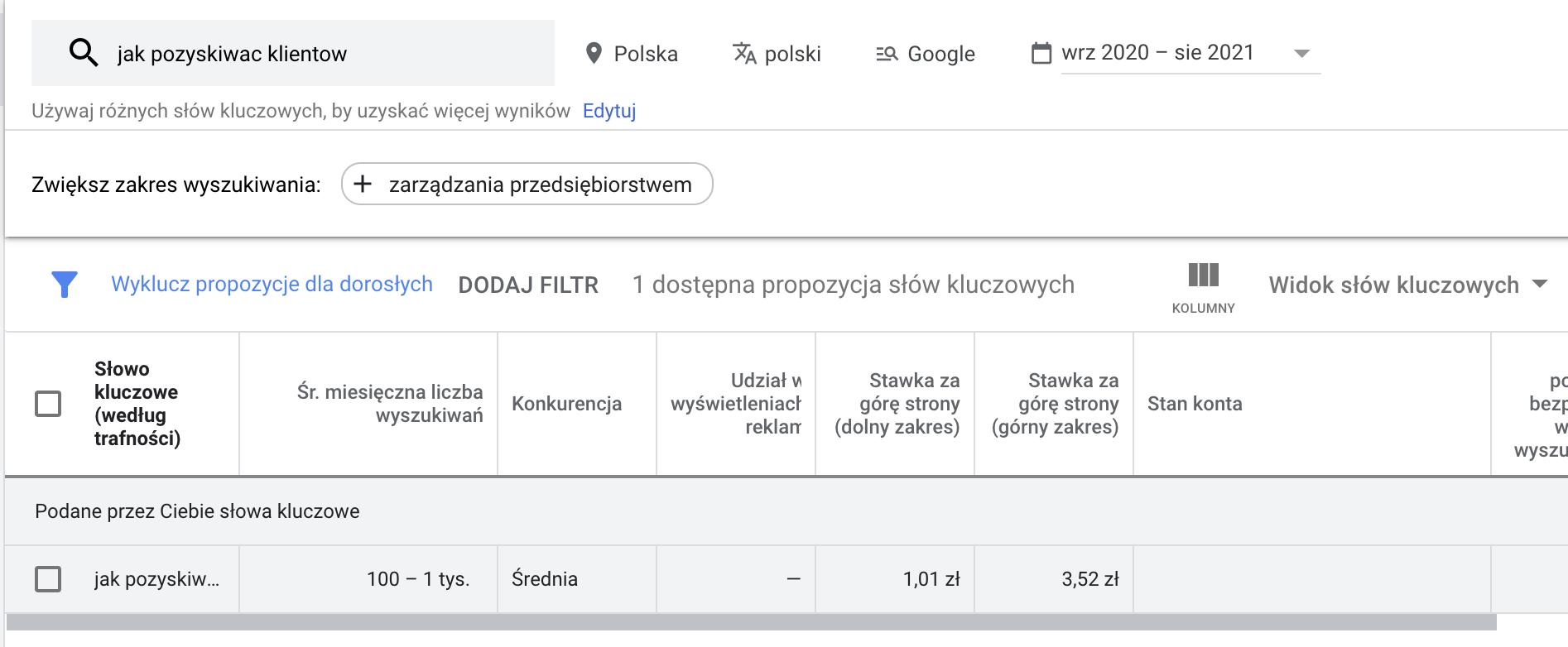 planer slow kluczowych google ads wyniki