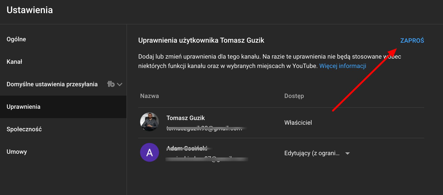 ustawiamy dostep do konta na youtube