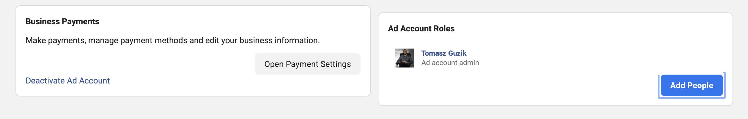 dodawanie użytkownika do konta reklamowego