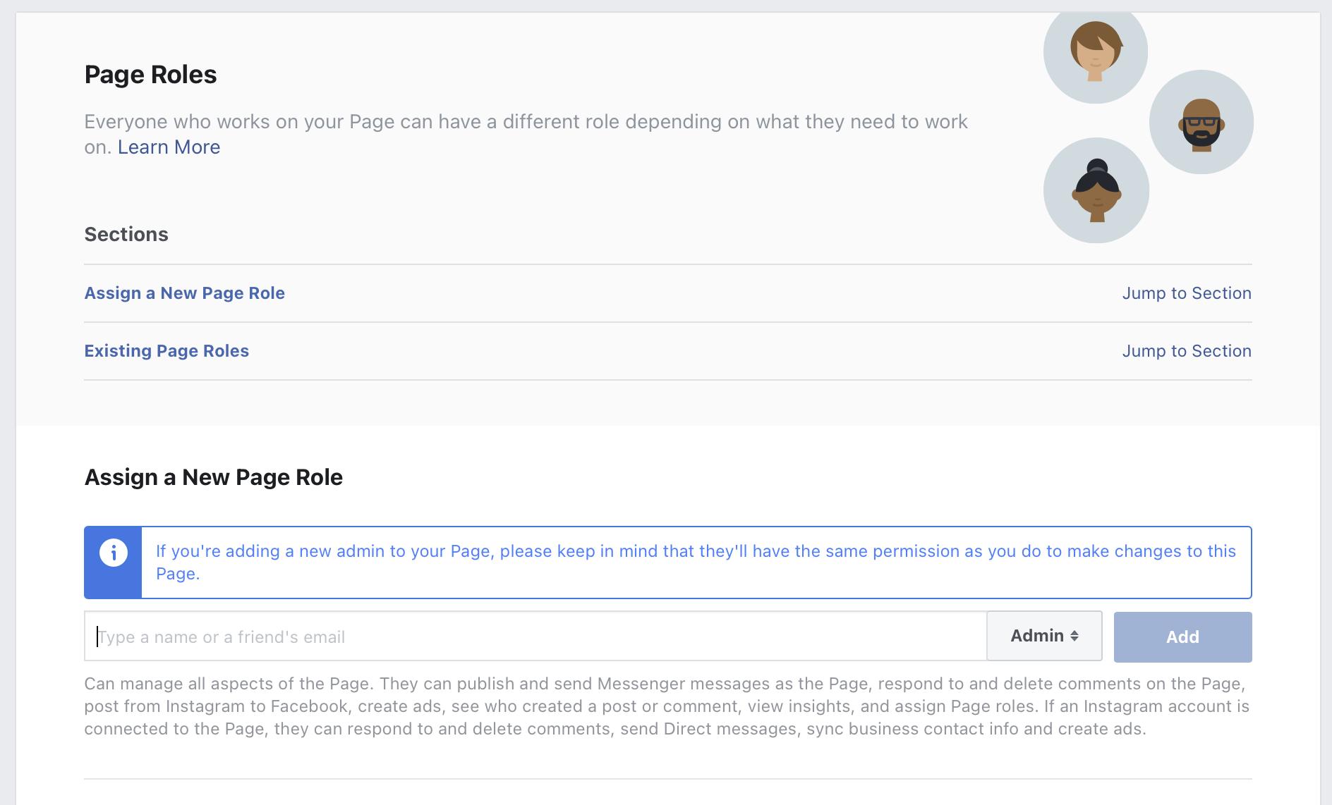wybieramy użytkownika który ma zostać administratorem na fanpage